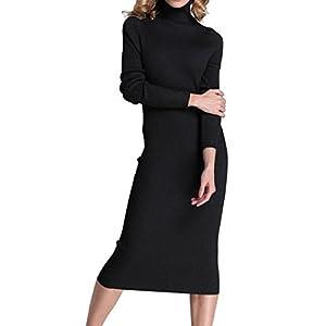 Rocorose Women's Turtleneck Ribbed Elbow Long Sleeve Knit Sweater Dress
