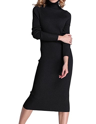 Rocorose Women's Turtleneck Ribbed Elbow Long Sleeve Knit Sweater Dress Black L