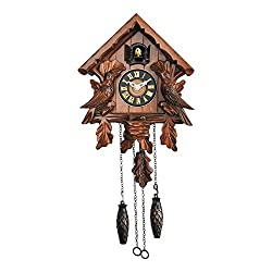 TransSino Treasures Traditional Wooden Clock with Quartz Movement and Cuckoo Chirping