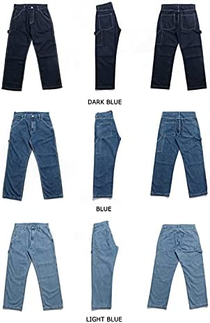 41DwB37rcLS. AC KOCHHA Men's Jeans Big Wide Pants Cotton Relaxed-Fit Carpenter Jean Denim Pants Hip Hop Blue    It can be used as a street item by loosely putting it together as a whole, and it is an item that can be worn around. Wear a shop coat or overshirt with a dull-colored Ron T or short-sleeved T-shirt for a casual look.Wear a big silhouette sweatshirt, sweatshirt, parker or check shirt for an American casual work or outdoor style. Like denim x denim, it is also recommended to match the colors of the tops and bottoms and dress in a setup style.Shoes look great with sneakers and slip-ons, as well as leather shoes like engineer boots and loafers. Excellent compatibility with small items such as caps, sacoches, body bags, and backpacks. You can wear it in unisex regardless of men's or ladies'. (Size XS has a gathered waist with rubber).The product photos are processed so that they are as close to the actual color and size as possible, but please note that the size measurement, the image quality of the PC monitor, and the light environment may differ slightly.