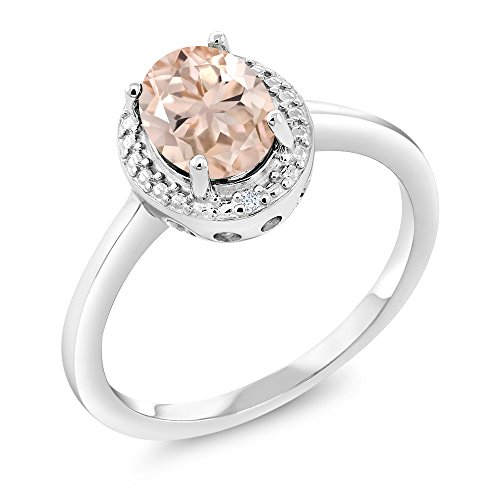 Gem Stone King 1.01 Ct Oval Peach Morganite White Diamond 925 Sterling Silver Ring (Size - Natural Peach Gem Oval