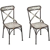 Cape Craftsmen Industrial Galvanized Metal Chairs, Set of 2