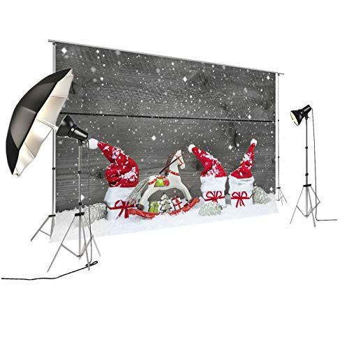 Backdrop For Winter Themed Pictures Christmas Xmax Photography Background Red Christmas Hats Rocking Horse FT-4250 ()