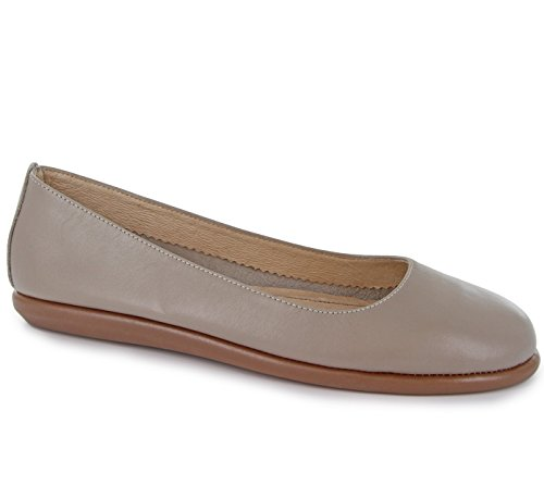 Joan Vass Patricia Womens Nappa Leather Ballet Flat Shoes Taupe (Yellow Nappa Footwear)