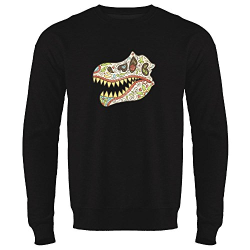 Catrina Costume Ideas (Tyrannosaurus Sugar SkullHalloween Costume Horror Black L Mens Fleece Crew)