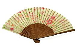 Japanese Design Silk Handheld Folding Fan, Pale Green w/Pink Flowers and Green Leaves HF-235