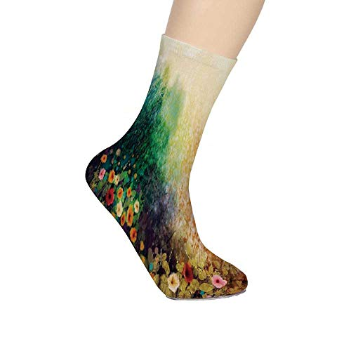 Vw Valley Wash - TecBillion Watercolor Flower Home Decor Soft Mid Calf Length Socks,Flower Bed on Valley in Fall with Shady Faded Murky Print Socks for Men Women