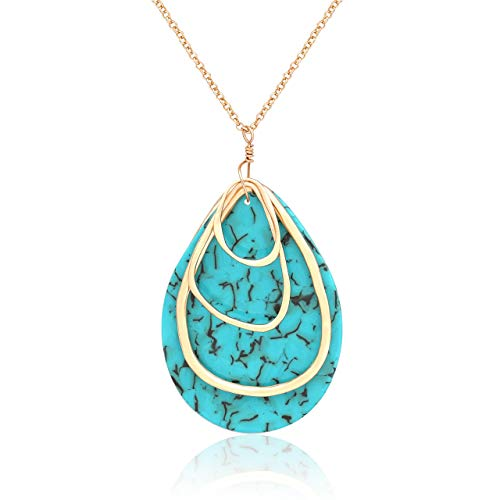 - MOLOCH Long Necklace for Women Girls Geometry Teardrop Acrylic Circle Pendant Necklace Statement Boho Acetate Resin Necklace Minimalist Gift (Green)