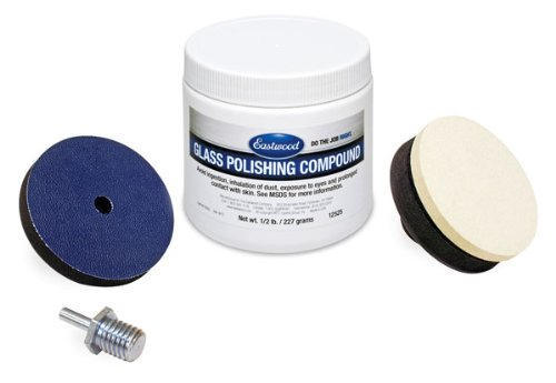 Eastwood Pro Glass Polishing Kit Scratch Haze Remover Diamond Fast Powder & Felt Polishing Buff with Drive Spindle Adapter ()