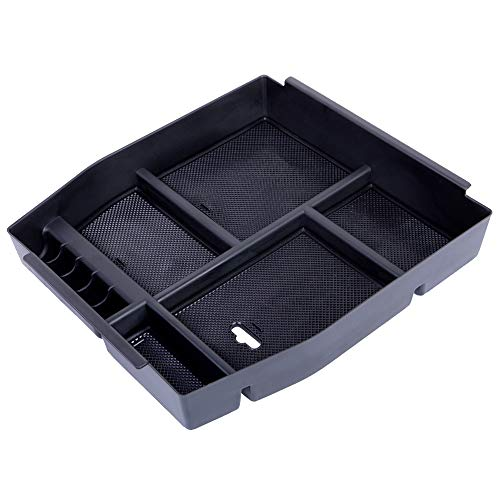 JDMCAR Compatible for Ford F150 2015 2016 2017, Center Console Organizer Insert ABS Black Materials Tray, Armrest Box Secondary Storage