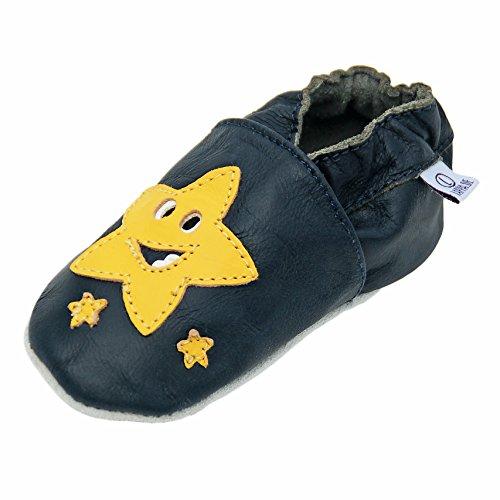 Lappa.de - Zapatillas de piel para niños (suela de ante, tallas de la 19 a la 31), diseño de estrella, color negro y amarillo