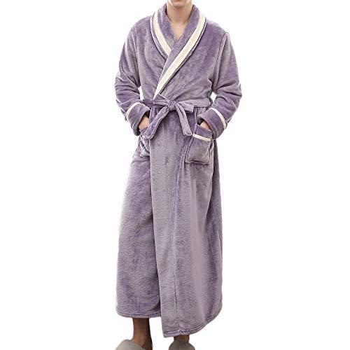 Couple Bathrobe, Men's Winter Bathrobe Splicing Home Long Sleeved Fleece Robe