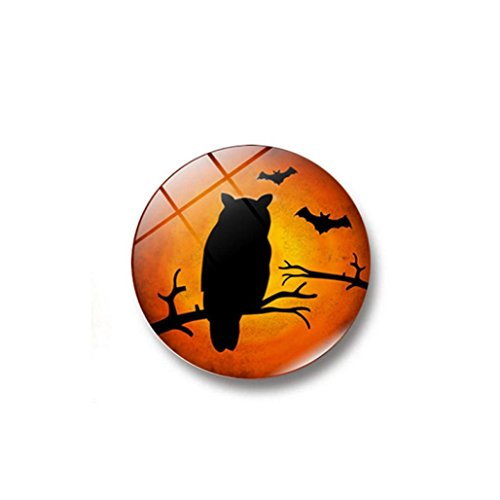 Happy Halloween Dome Glass Fridge Magnet Stickers, Witch