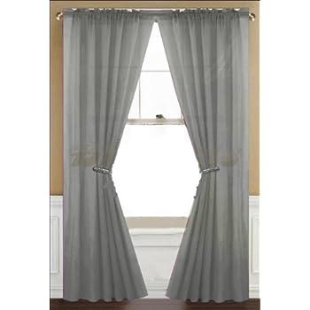 Amazon Com 2 Piece Solid Grey Gray Sheer Window
