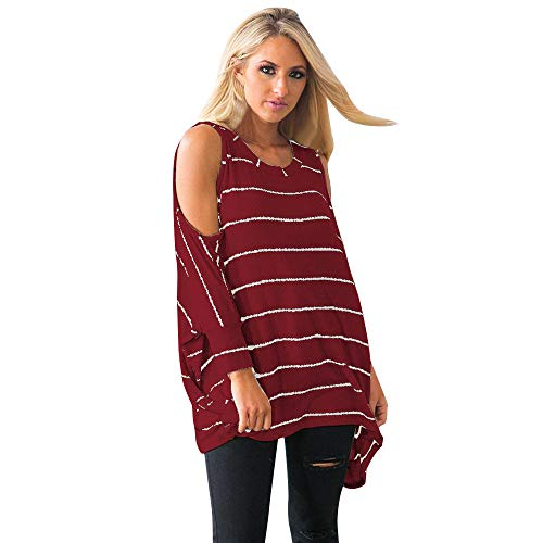Mesdames Femmes Xinantime Froide Chemise Casual Tops Rouge Shirt Blouse paule Loops Chemise Longues Manches hiver Automne Rayures Tops Femmes wPPAqg