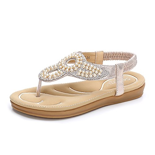 Meeshine Women Bohemia Flat Sandals Summer Beach Glitter Beads Elastic T-Strap Flip-Flop Thong Shoes(9 B(M) US,Gold - Women 03 Sandal Gold