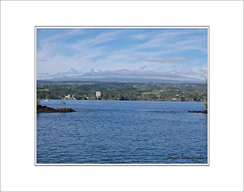 8x10 Photo Print with White Matting, Signed (fits 11x14 Picture Frame) - Tropical Hawaii Series Mauna Kea Volcano from Hilo Bay, Hawaii