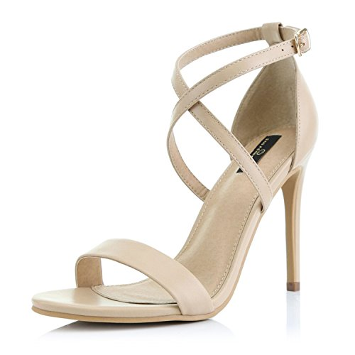 DailyShoes Women's Open Toe Ankle Buckle Cross Strap Platform Pump Evening Dress Party High Heel Jennifer-22 Sandals, Nude PU, 7.5 B(M) (Comfortable Shoes Heels)