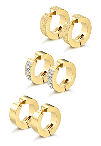 Jstyle 3 Pairs Stainless Steel Mens Womens Hoop Earrings Clip On CZ Non-Piercing G