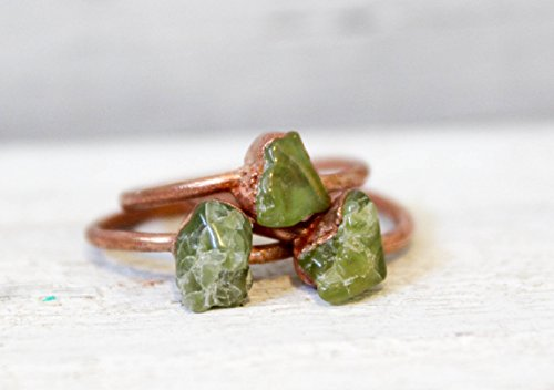 Peridot Bohemian Gemstone Stacking Ring in Copper SIZE 7 - ONE RING
