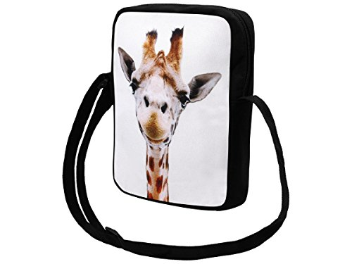 Messenger Bag klein Umhängetasche College Tasche Retro Messengertasche Schultertasche von Alsino (MEB-k05 Union Jack) MEB-k011 Giraffe