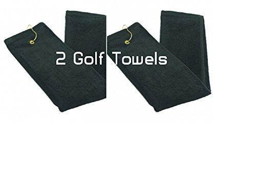 Show Car Guys Black Tri - Fold Golf Towels With Grommet 16'' x 25'' - Two Towels by Show Car Guys