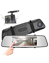 Pruveeo D700 7 Inch Touch Screen Backup Camera Dash Cam Front and Rear Dual Channel with Rear View Reversing Camera
