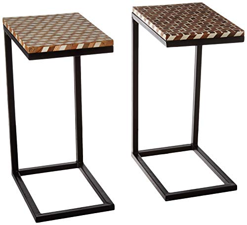 Sofa Side C End Table in intricate Handcrafted Mosaic patterns,Snack Table in Resin Finish for Study,Coffee,Tablet