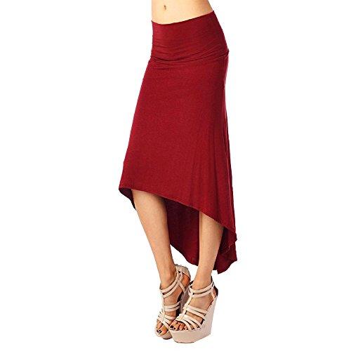 Femme Jupe En Queue D'Aronde Mi Longue lgant Jupes Stretch Vin Rouge