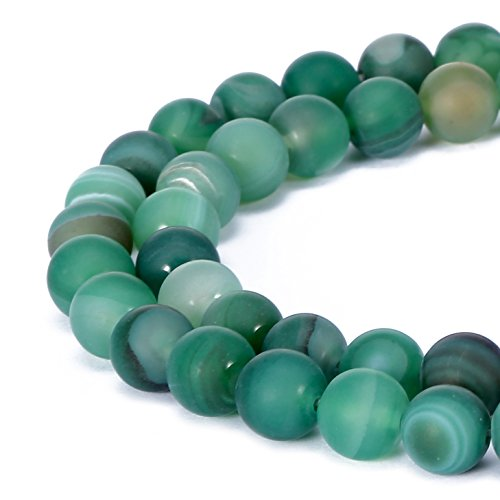 BRCbeads Stripe Agate Natural Gemstone Loose Beads 6mm Matte Round Crystal Energy Stone Healing Power for Jewelry Making- Green - Natural Loose Gemstone Beads