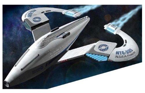 Galaxy Quest Prebuilt N.S.E.A. PROTECTOR Preassembled Model Ship NEW Movie NSEA 1/1400