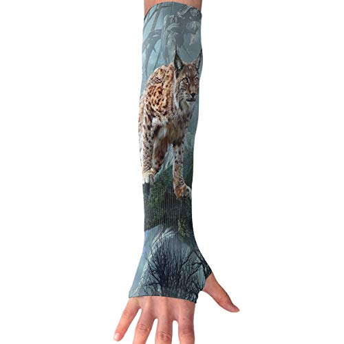 RZM YLY Unisex Canada Lynx Arm Sleeves UV Sun Protective Windproof Tattoo Arm Gloves Long Sleeve Perfect for Football (1 Pair)