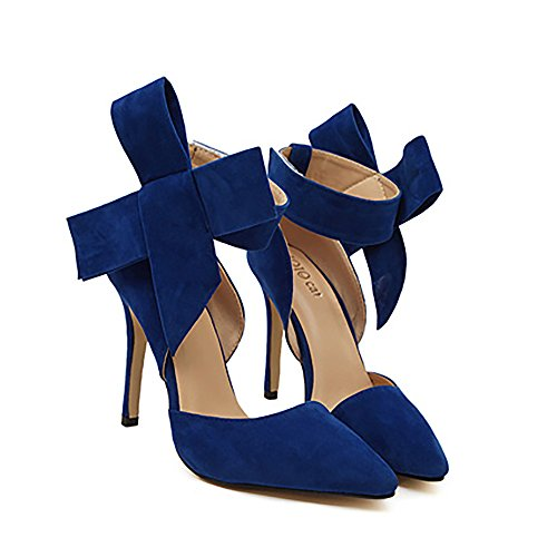 Womens escarpins cravate partie Xianshu Bleu robe Cour talon Bow High de 1a1wd