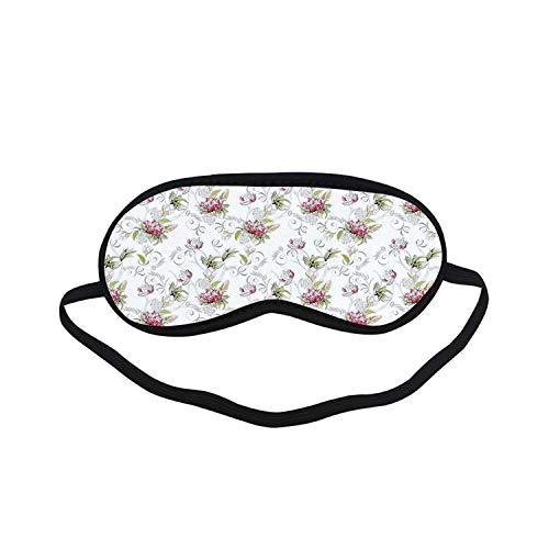 (Floral Fashion Black Printed Sleep Mask,Art Nouveau Style Nature Illustration Vivid Color Romance Prosperity Marriage for Bedroom,7.1