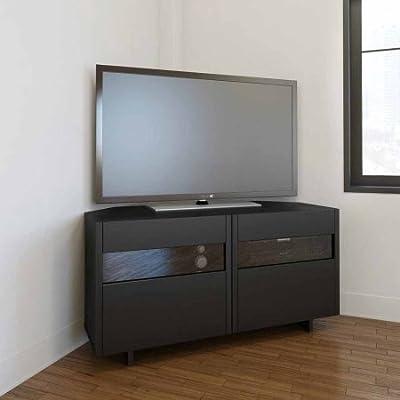 """Nexera Vision Black 48"""" Corner TV Stand For TVs up to 53"""""""
