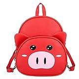 Vibola Girls Backpacks Kids Backpack for Girls Gifts Detachable Strap Cartoon Pig Pattern Kindergarten Children Bag (Red)