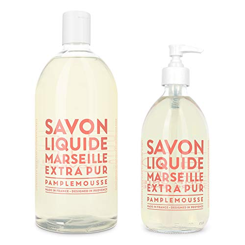 (Compagnie de Provence Savon de Marseille Extra Pure Liquid Soap - Pink Grapefruit - 16.9 Fl Oz Glass Pump Bottle and 33.8 fl oz Plastic Bottle Refill)