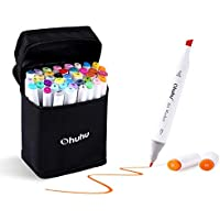Ohuhu 40-color Dual Tips Permanent Marker Pens Art Markers for Kids, Highlighter Pen with Carrying Case for Drawing Sketching Adult Coloring Highlighting and Underlining, Back to School Art Supplies