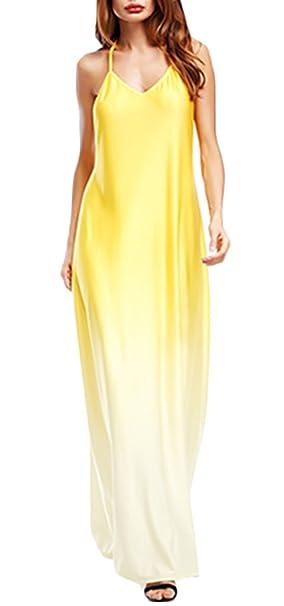 Mujer Vestidos Largos Verano Elegantes Gradiente De Color Sólido Casual Maxi Vestido V Cuello Halter Espalda Descubierta Moda Vestidos Informales Vestidos ...