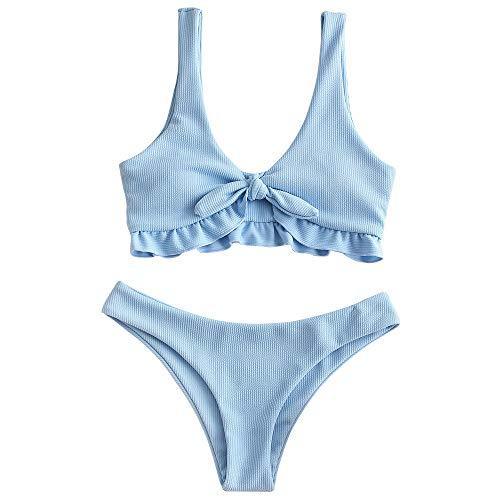 ZAFUL Women's Ribbed Scoop Neck Tie Front Ruffle Two Piece Bikini Set Swimsuit (Jeans Blue, S)