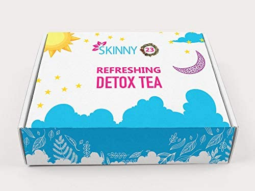 Skinny23 Detox 28 Day-Time and 28 Night-Time Detox Tea Bundle (56 Total Tea Bags) - USDA Organic Puerh Tea, Laxative-Free, Vegan with Great Taste, Boost Energy Naturally & Helps Reduce Bloating