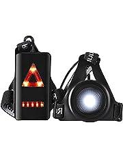 Loopverlichting voor hardlopers, USB oplaadbare LED borstlamp, 90° verstelbare stralingshoek waterdicht loopzaklamp licht voor hond wandelen nachtlopers joggen wandelen