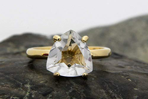(Anemone Unique Trillion Quartz Ring - Gorgeous Thin Gold Ring That Exudes Purity - A Versatile Ring Both Ordinary & Extraordinary [Handmade])