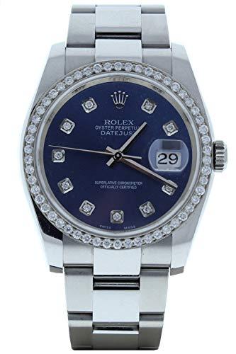Rolex-Model-116200-Datejust-Mens-Oyster-Watch-Custom-Blue-Diamond-Dial-Diamond-Bezel-Certified-Pre-Owned
