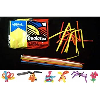 Qualatex Balloons, 260 Q, 100 Per bag, Assorted Pink, Pastel Blue, White, Onyx Black, Quartz Purple, Ruby Red, Citrine Yellow and Mandarin Orange