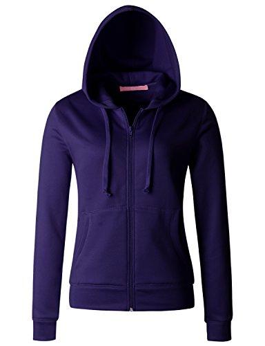 Regna X Womens Cotton Fleece Full-Zip Hooded Sweatshirt Dark Purple ()