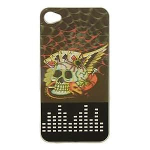 comprar Nueva tela de araña sentido y cráneos patrón de luz de flash LED 3D estuche rígido cambiando de color para el iphone 4/4s , Negro