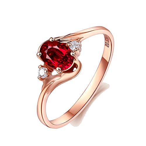 MoAndy Rose Gold 18K Ring for Women Wedding Rings for Her Ruby 0.531ct & Diamond Red Size 4 ()