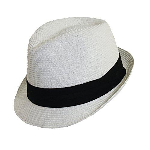 - Scala Classico Women's Paper Braid Fedora Hat, White, Black, OS