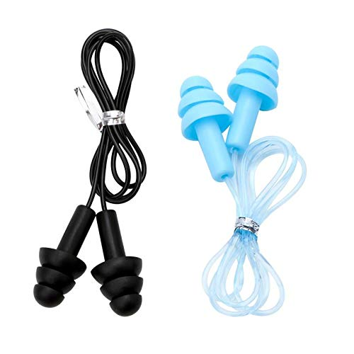 Junhua Reusable Silicone Waterproof Ear Plugs, Comfortable with Cord Earplugs for Sleeping, Snoring, Swimming, Work, Travel and Loud Events, 2 Pair -32 NRR by Junhua (Image #2)